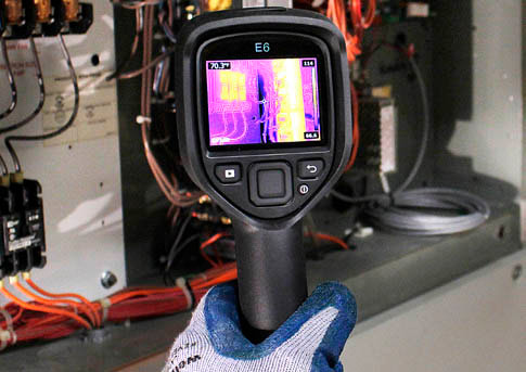 Thermal Imager checking electric service equipment by Dairyland Home Inspection.